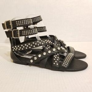 Steve Madden Black Sandals Flats Sparkly 🆕